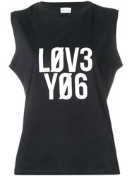 Red Valentino Encrypted Love Notes Print Tank Top Black