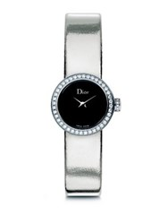 Christian Dior La Mini D De Dior Diamond Stainless Steel And Metallic Leather Strap Watch Silver Black
