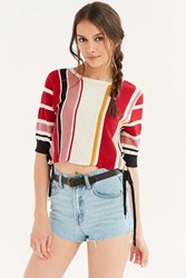 Glamorous Blanket Stitch Side Lace Up Tee Multi