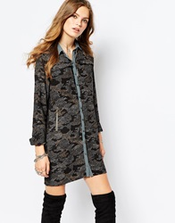 Pepe Jeans Print Shirt Dress With Zip Pocket Detail Multi