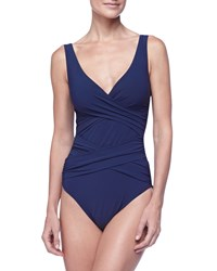 Karla Colletto Smart Suit Wrap Front One Piece Swimsuit Size 10 Navy