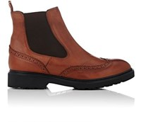 Barneys New York Women's Leather Wingtip Chelsea Boots Brown