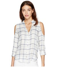 Paige Bellini Shirt Bright White Periwinkle Women's Clothing