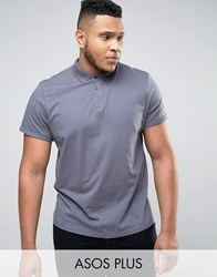 Asos Plus Polo Shirt With Roll Sleeve In Washed Blue Eel