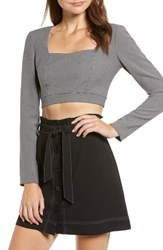 Wayf Fae Check Crop Top Grey Mini Hounds Tooth