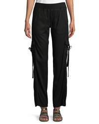 Xcvi Vroni Relaxed Cargo Pants With Grommet And Tie Detail Plus Size Black
