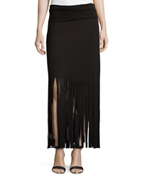 Romeo And Juliet Couture Fringe Trimmed Maxi Skirt Black
