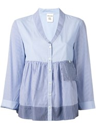Erika Cavallini Striped Ruffled Buttoned Blouse Blue