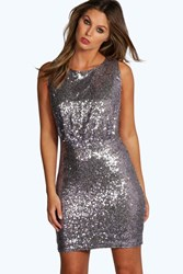 Boohoo All Over Sequin Drop Arm Bodycon Dress Lilac