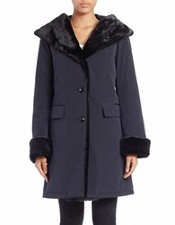Jane Post Faux Fur Trimmed Single Breasted Coat Navy Blue