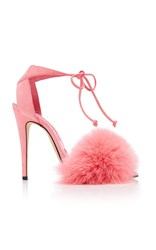 Brian Atwood Melly Fur Sandal Pink