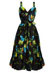 Marc Jacobs Parrot Print Stretch Cotton Dress Black Multi