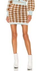 For Love And Lemons Cher Houndstooth Mini Skirt In Blue. Toffee