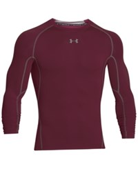 Under Armour Men's Heatgear Long Sleeve Compression Shirt Maroon