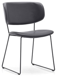 Calligaris Claire M Chair P16 Matt Grey Metal L16 Grey Leather Gray
