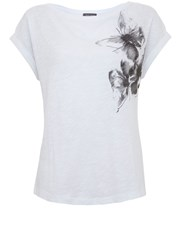Mint Velvet Ivory Butterfly Embroidered Tee Ivory