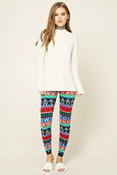 Forever 21 Holiday Print Sweater Leggings Red Green