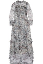 Erdem Stacey Ruffled Floral Print Tulle Gown White