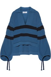 Sonia Rykiel Oversized Striped Ribbed Stretch Knit Sweater Cobalt Blue