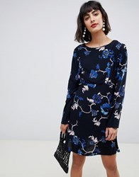 Pieces Floral Printed Dress Black W Flowers Multi