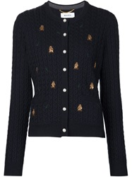 Muveil Owl Embroidered Cardigan Blue