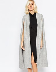 Lavish Alice Wool Collarless Cape Coat Grey