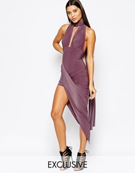 Club L Multi Way Club Dress With Asymmetric Skirt Orchid