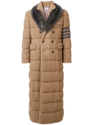 Thom Browne Down Filled Camel Hair Chesterfield Overcoat Nude And Neutrals