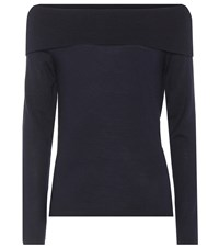Jardin Des Orangers Off The Shoulder Wool Sweater Blue