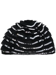 Le Chapeau Ruffle Sequined Hat Black