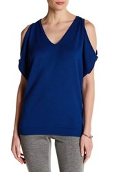 Joseph A V Neck Cold Shoulder Sweater Blue