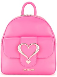 Love Moschino Logo Plaque Backpack Pink Purple