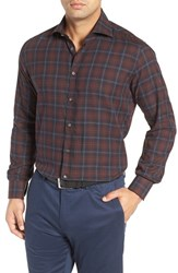 Luciano Barbera Men's Trim Fit Plaid Sport Shirt
