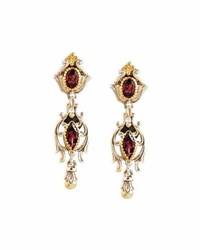 Konstantino Artemis Silver And 18K Gold Rhodolite Dangle Earrings Red