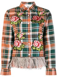 Caban Romantic Floral Embroidered Plaid Shirt Yellow And Orange