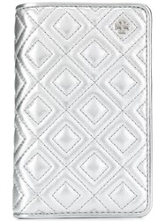 Tory Burch Quilted Effect Fleming Wallet Silver
