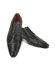 Fratelli Borgioli Handmade Black Calf Leather Cap Toe Shoes