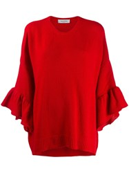 Valentino Flounce Sleeve Jumper Red