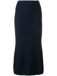 Alessandra Rich Cable Knit Tube Skirt Blue