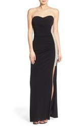 Jump Strapless Illusion Panel Gown Black