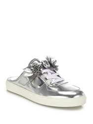 Sophia Webster Lilico Jessie Metallic Leather Sneaker Mules Silver