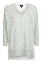 Topshop Long Line V Neck Knitted Top Monochrome