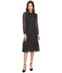 Kate Spade Pin Dot Chiffon Shirtdress Black Cream