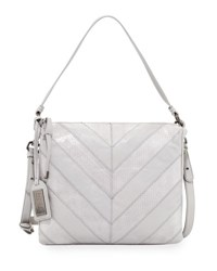 Badgley Mischka Remy Chevron Snake Embossed Crossbody Bag Dove