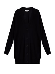 Jil Sander Long Line Wool Cardigan Navy