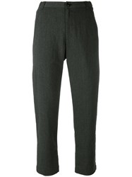 Pas De Calais Tailored Cropped Trousers Women Cotton Linen Flax Polyester Rayon 40 Grey