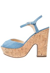 Schutz Platform Sandals Summer Jeans Blue Denim