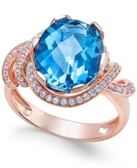 Macy's London Blue Topaz 4 9 10 Ct. T.W. And White Topaz 1 3 Ct. T.W. Ring In 14K Rose Gold Plated Sterling Silver