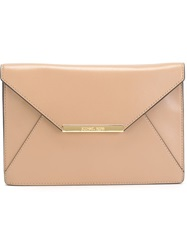 Michael Michael Kors Logo Plaque Envelope Clutch Brown
