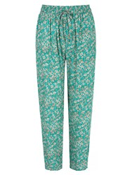 Yumi Ditsy Vintage Floral Print Trousers Turquoise